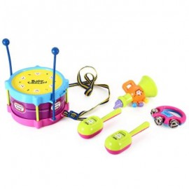 image of KIDS DRUM RATTLES MUSICAL GAME INSTRUMENT ASSEMBLY INTELLIGENCE DEVELOPMENT TOY SET (COLORMIX) One Size
