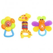 image of 3PCS BABY COLORFUL HAND SHAKE BELL RING RATTLE FEEDER EDUCATIONAL TOY (#1) -