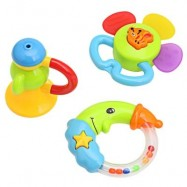 image of 3PCS BABY COLORFUL HAND SHAKE BELL RING RATTLE FEEDER EDUCATIONAL TOY (#2) -