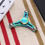STEEL BALL TRIPLE RAINBOW FIDGET SPINNER ZINC ALLOY STRESS RELIEVER TOY (COLORFUL) -