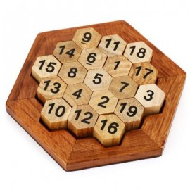 image of HEXAGON PUZZLE NUMBER THEME EDUCATIONAL WOODEN INTERLOCK TOY (MULTI) -