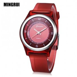 image of MINGRUI MR - 8823 KIDS QUARTZ WATCH 30M WATER RESISTANCE PLASTIC STRAP WRISTWATCH (DEEP RED) 0