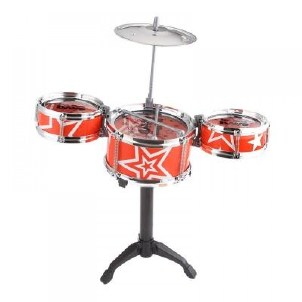JAZZ ROCK DRUMS SET KIDS TOY MUSICAL INSTRUMENT CHRISTMAS BIRTHDAY PRESENT (RED) -