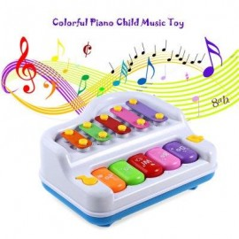 image of MULTI-FUNCTION COLORFUL PIANO CHILD MUSIC INTELLIGENT INSTRUMENT GIFT TOY (WHITE) -