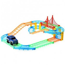 image of CHILDREN DIY MULTI-TRACK RAIL CAR RACING TRACK BUILDING BLOCKS EDUCATIONAL TOY (COLORFUL) -
