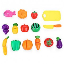 image of 16PCS KIDS PLASTIC VEGETABLE FRUIT TOY PRETEND PLAY KITCHEN CUTTING SET (COLORMIX) A TYPE