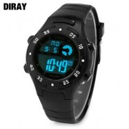image of DIRAY DR - 201 CHILDREN DIGITAL WATCH LED ALARM CHRONOGRAPH CALENDAR 5ATM PU BAND WRISTWATCH (BLACK) 0