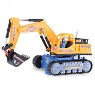 image of FLASHING WHEEL MUSICAL EXCAVATOR BUILDER MACHINE CAR TOY FOR CHILDREN (EARTHY) -