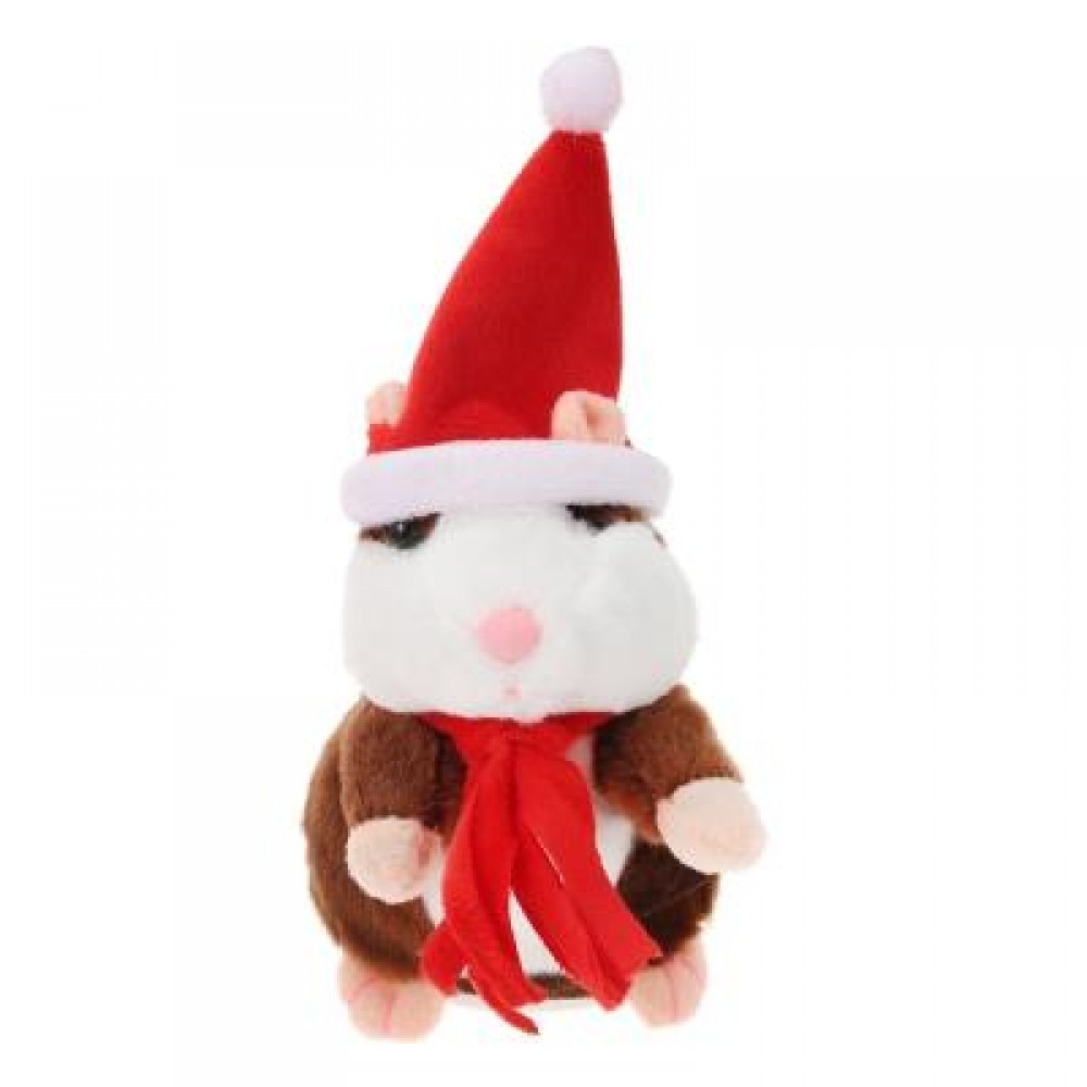 CHRISTMAS STYLE CUTE TALKING HAMSTER PLUSH TOY SOUND RECORD (DEEP BROWN) RED SCARF