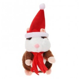 image of CHRISTMAS STYLE CUTE TALKING HAMSTER PLUSH TOY SOUND RECORD (DEEP BROWN) RED SCARF