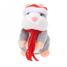 image of CHRISTMAS STYLE CUTE TALKING HAMSTER PLUSH TOY SOUND RECORD (GRAY) RED SCARF