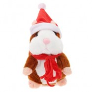 image of CHRISTMAS STYLE CUTE TALKING HAMSTER PLUSH TOY SOUND RECORD (LIGHT BROWN) RED SCARF