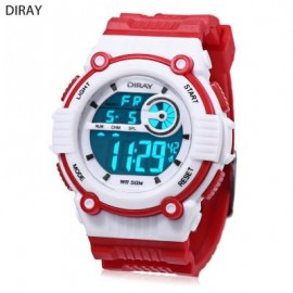 image of DIRAY DR - 203 CHILDREN DIGITAL WATCH LED ALARM CHRONOGRAPH CALENDAR 5ATM PU BAND WRISTWATCH (RED) 0