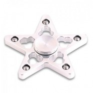image of STRESS REDUCER STAR SHAPED EDC FIDGET SPINNER FINGER GYRO (SILVER WHITE) 7*7*1.5CM