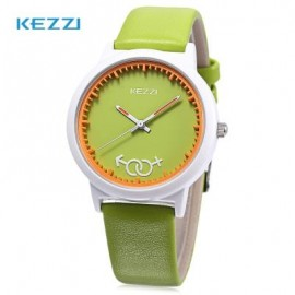 image of KEZZI K - 1515 KIDS QUARTZ WATCH LEATHER BAND CUTE PATTERN DIAL IMPORTED MOVT WRISTWATCH (GREEN) 0