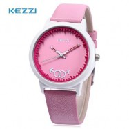 image of KEZZI K - 1515 KIDS QUARTZ WATCH LEATHER BAND CUTE PATTERN DIAL IMPORTED MOVT WRISTWATCH (SHALLOW PINK) 0