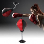 image of DESKTOP PUNCHING BAG SPEED BALL TOY (BLACK AND RED) 0
