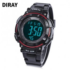 image of DIRAY DR - 306G CHILDREN DIGITAL WATCH CHRONOGRAPH BACKLIGHT ALARM DAY DATE DISPLAY 5ATM WRISTWATCH (RED WITH BLACK) 0