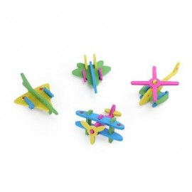 image of DIY 3D PLANE WOODEN BUILDING BLOCK INTELLIGENT PUZZLE TOY (COLORMIX) -