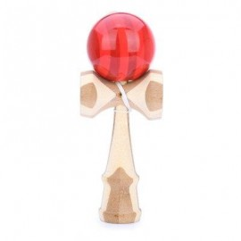 image of JAPANESE TRADITIONAL GAME STRING TOY BALANCE SKILL DEVELOPMENTAL BAMBOO KENDAMA (RED) -