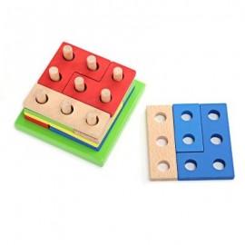 image of MUMAMA PAIRING PUZZLE GEOMETRY BUILDING BLOCKS KIDS TOY (COLORMIX) -