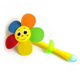 image of SUNFLOWER ROTATION ELECTRIC BUBBLES STICK WINDMILL TOY WITH SMILE FACE LIGHTING MUSIC (COLORMIX) -