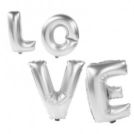 image of ALUMINUM FOIL LETTERS BALLOONS FOR WEDDING DECORATION (SILVER) -