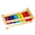 KID WOODEN 8 NOTES MUSICAL TOYS HAND KNOCK XYLOPHONE EDUCATIONAL TOYS (COLORFUL) One Size