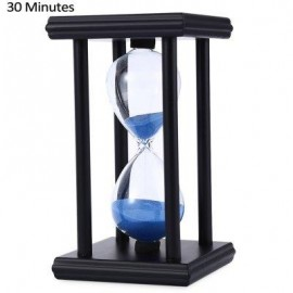 image of HOURGLASS SAND TIMER 30 MINUTES WOOD SAND TIMER FOR KITCHEN OFFICE SCHOOL DECORATIVE USE (BLACK BLUE) -