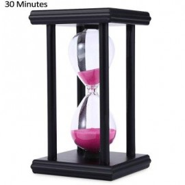 image of HOURGLASS SAND TIMER 30 MINUTES WOOD SAND TIMER FOR KITCHEN OFFICE SCHOOL DECORATIVE USE (BLACK PINK) -