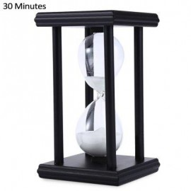 image of HOURGLASS SAND TIMER 30 MINUTES WOOD SAND TIMER FOR KITCHEN OFFICE SCHOOL DECORATIVE USE (BLACK WHITE) -