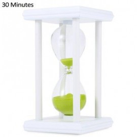 image of HOURGLASS SAND TIMER 30 MINUTES WOOD SAND TIMER FOR KITCHEN OFFICE SCHOOL DECORATIVE USE (WHITE GREEN) -