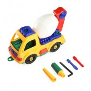 image of XIONGFENGDA KIDS PLASTIC DIY CARTOON CONSTRUCTION TRUCK VEHICLE WITH TOOLS ASSEMBLY INTELLECTUAL TOY (COLORMIX) -