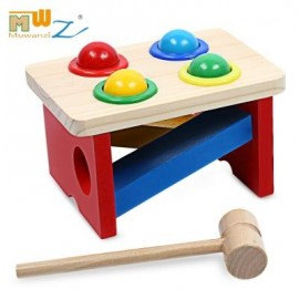 image of WOODEN BALL KNOCK HAMMER GAME EDUCATIONAL TOY (COLORFUL) -
