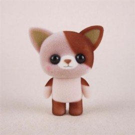 image of MINI LOVELY FLOCKING BROWN CAT DOLL FURNISHING ARTICLES KIDS GIFT (BROWN) 0