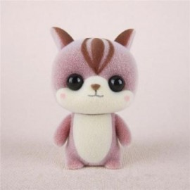 image of MINI LOVELY FLOCKING PINK SQUIRREL DOLL FURNISHING ARTICLES KIDS GIFT (PINK) 0