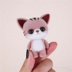 MINI LOVELY FLOCKING COFFEE CAT DOLL FURNISHING ARTICLES KIDS GIFT (COFFEE) 0