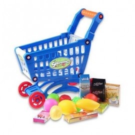 image of KIDS SUPERMARKET MINI SHOPPING CART WITH FULL GROCERY FOOD PLAY HOUSE TOY PLAYSET (BLUE) -