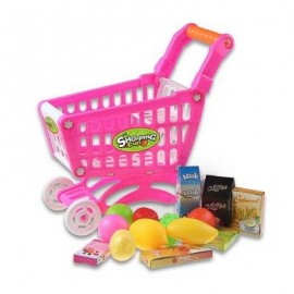 image of KIDS SUPERMARKET MINI SHOPPING CART WITH FULL GROCERY FOOD PLAY HOUSE TOY PLAYSET (PINK) -