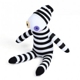 image of BABY HANDMADE BLACK WHITE STRIPED SOCK CLOWN DOLL STUFFED TOY (WHITE AND BLACK) -
