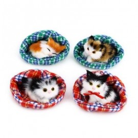 image of 4PCS CUTE SIMULATION CAT PLUSH DOLL WITH NEST BIRTHDAY CHRISTMAS PRESENT (COLORMIX) -