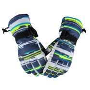 image of UNISEX PAIRED OUTDOOR WINDPROOF WATER RESISTANT RIDING SNOWBOARD SKIING GLOVES (BLUE AND WHITE) XL