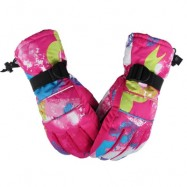 image of UNISEX PAIRED OUTDOOR WINDPROOF WATER RESISTANT RIDING SNOWBOARD SKIING GLOVES (BLUE AND PINK) L