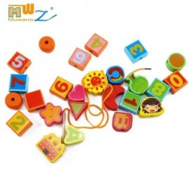 image of MUWANZI WOODEN BEADED BUILDING BLOCKS TODDLER GAME TOYS (LETTER PATTERN) -