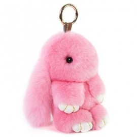 image of BUNNY REX RABBIT FUR BAG HANDBAG KEYCHAIN POM DOLL BALL KEY CHAIN RING PENDANT (PINK) 0
