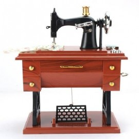image of RETRO VINTAGE SEWING MACHINE MUSIC BOX BIRTHDAY GIFT HOME DECORATION (WOOD GRAIN) 0