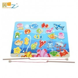image of MAGNETIC WOODEN FISHING PUZZLE GAME TOY FOR CHILDREN (COLORFUL) -