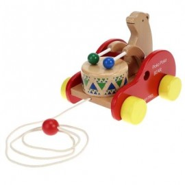 image of WOODEN BEAR DRUM DRAG CAR EDUCATIONAL TOY (MULTICOLOR) 0