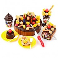 image of 73PCS BIRTHDAY PARTY PLAY FRUIT FOOD CAKE FOR CHILDREN (CHOCOLATE) 0