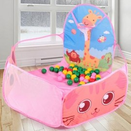 image of FOLDABLE OCEAN BALL PIT POOL KIDS TENT HOUSE PLAY SET TOY (PINK CHAMPAGNE) -